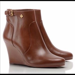Tory Burch Brown Milan Leather Wedge Booties Size7